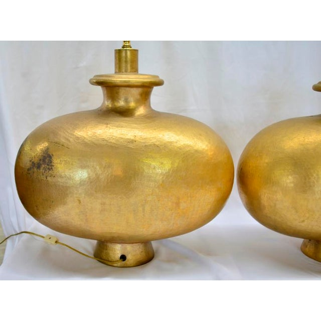 Mid-Century Modern Mid Century Modern Copper Repousse Lamps - a Pair For Sale - Image 3 of 8