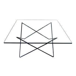 Mid-Century Modern Black Iron and Glass Sculptural Coffee Table For Sale