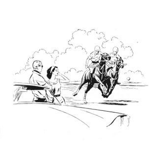 Contemporary Horse Racing Drawing For Sale