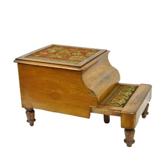 19th Century Mahogany Needlepoint Pull Out Commode For Sale