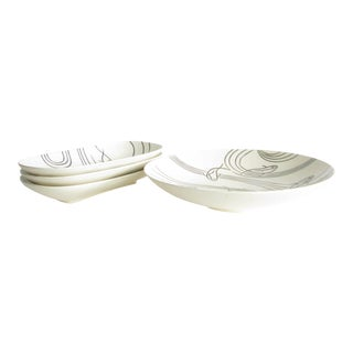 Vintage 1960s Hand-Painted Koi Fish Ceramic Serving Bowls - 4 Pieces For Sale