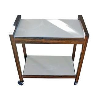 1960's Danish Modern Two-Tiered Italian Marble Rolling Cart For Sale