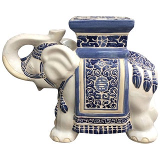 Late 20th Century Vintage Blue and White Chinoiserie Elephant Garden Stool For Sale