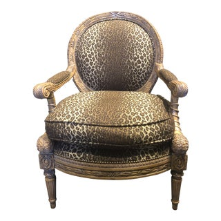 Maitland-Smith Hand Carved Lounge Chair For Sale