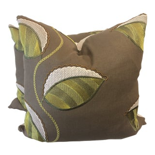 """Charteuse Embroidered Leaf on Brown Linen 22"""" Pillows-A Pair For Sale"""