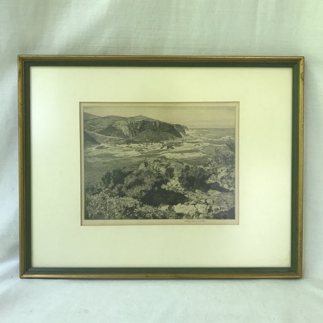 Beautiful rocky landscape etching signed by Hilda Mary Pemberton (South Africa 20th century). The etching is placed in...