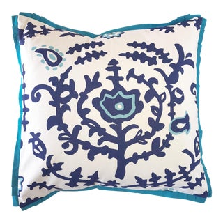 Turkish Blue Square Pillow For Sale