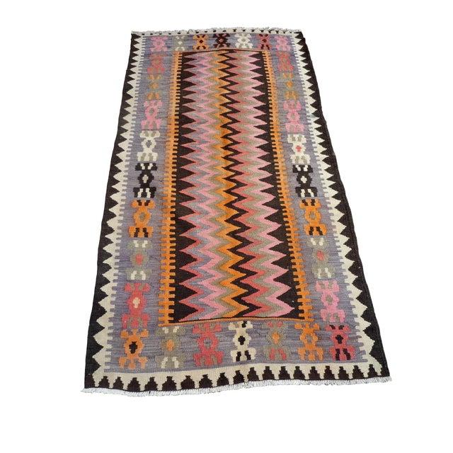 "Vintage Moroccan Kilim Rug - 3'9"" x 7'1"" - Image 1 of 3"
