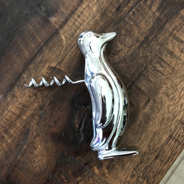 Contemporary Whimsical Chrome Plated Penguin Corkscrew Wine Bottle Opener For Sale In Austin - Image 6 of 10