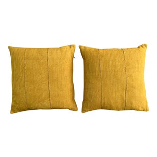 African Yellow Mud Cloth Pillows - a Pair For Sale
