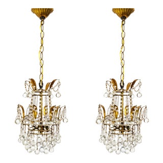 Petite Beaded and Drop Crystal Chandeliers (Pair)