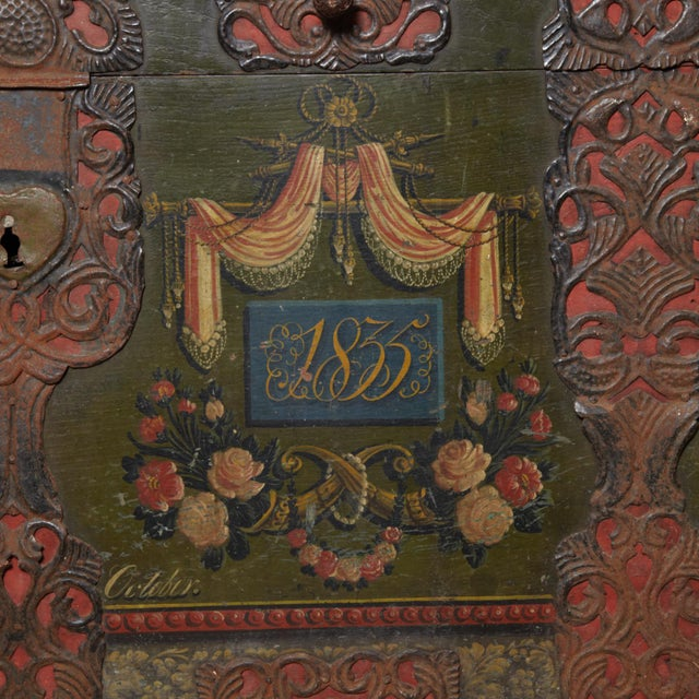 Mid 19th Century Danish Original Painted Dowry Chest Circa 1835 For Sale - Image 5 of 11