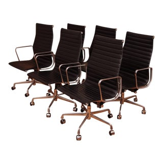 Vintage Mid Century Herman Miller Eames High-Back Black Leather Chairs - Set of 6 For Sale