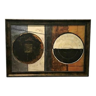 1970s Vintage Framed Abstract Painting For Sale