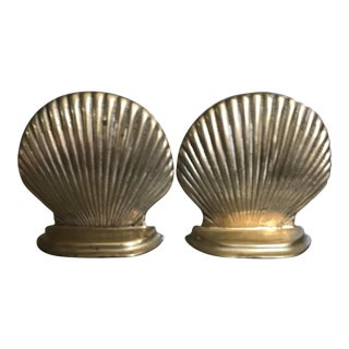 Vintage Solid Brass Shell Bookends - A Pair
