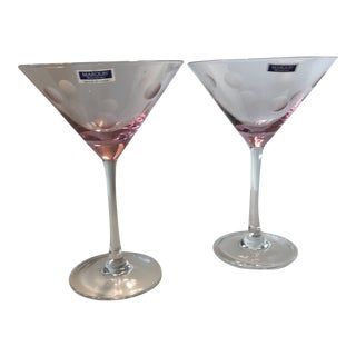 Pink Waterford Crystal Martini Glasses With Etched Dots - Set of 2 For Sale