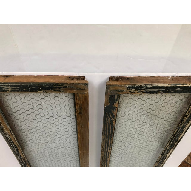 Rustic 1890s Vintage Salvaged Police Station Chicken Wire Windows - a Pair For Sale - Image 3 of 13