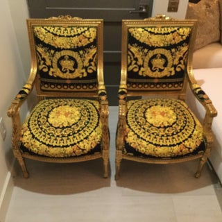 Versace Baroque Crown Velvet Upholstery Louis XVI Antique Chairs- a Pair Preview