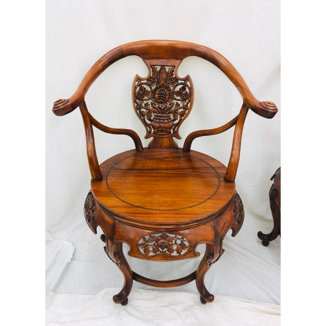Pair Antique Carved Arm Chairs For Sale In Raleigh - Image 6 of 13
