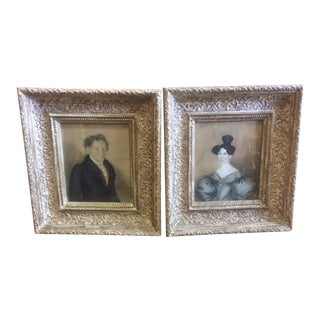 Early 19th C. English Antique Watercolor & Ink Framed Portrait Paintings - a Pair For Sale