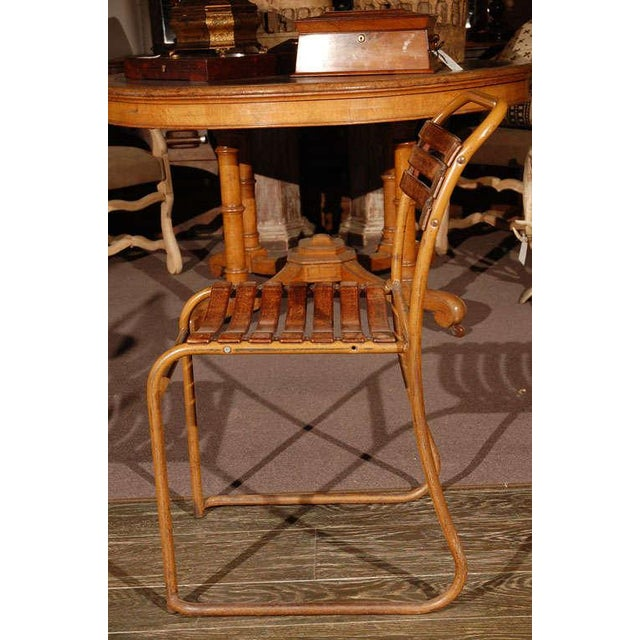 Brown Painted Bakelite Slat Stacking Chairs, England, circa 1940 For Sale - Image 8 of 11