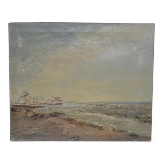 "Irina Roudakoff Belotelkin ""Coastal Landscape With Buildings"" Original Oil Painting C.1967 For Sale"