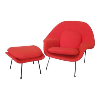Early Production Eero Saarinen for Knoll Womb Chair With Ottoman For Sale