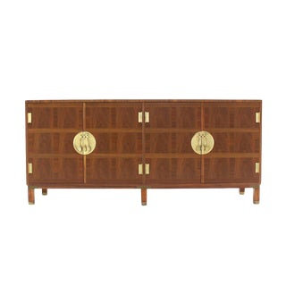 Mid-Century Modern Banker Walnut Dresser For Sale