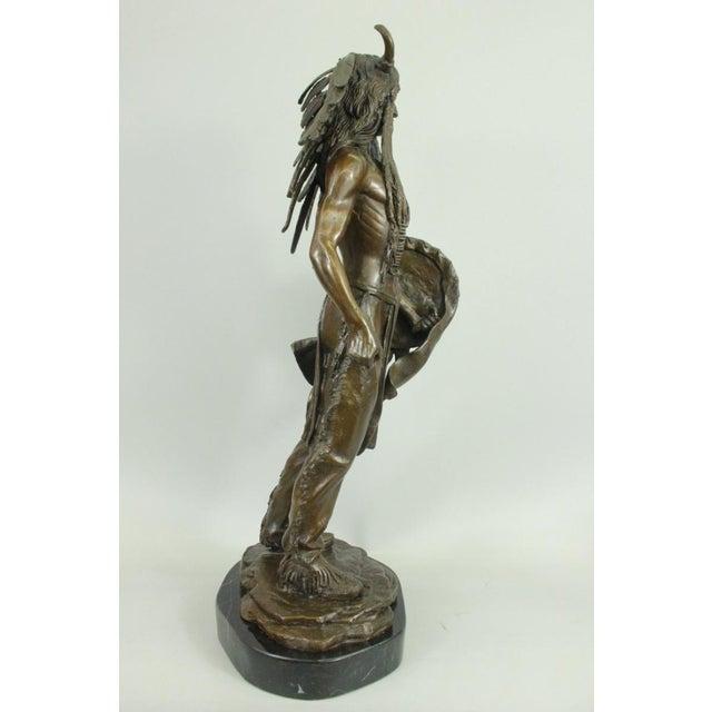 Apache Native American Warrior Bronze Statue For Sale - Image 5 of 6
