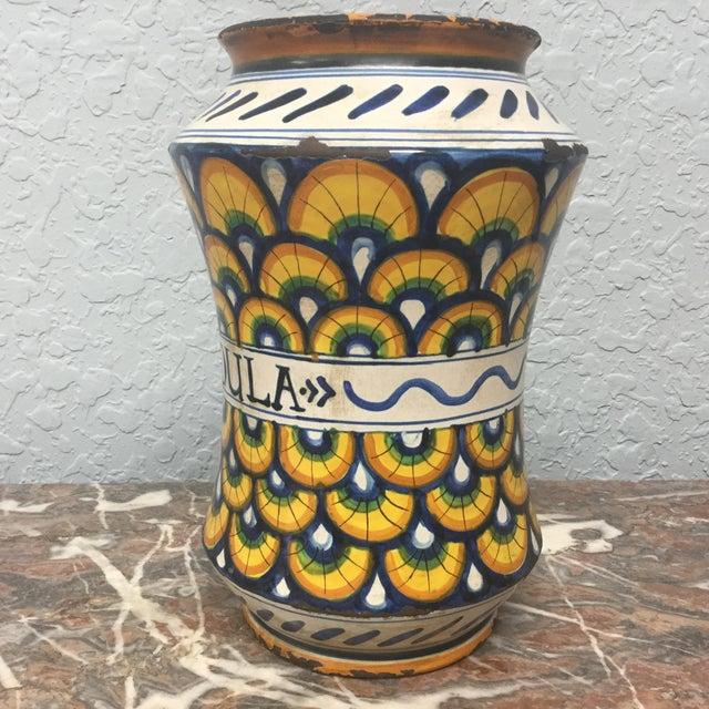 17th Century Italian Yellow Maiolica Pottery Albarello Drug Jar For Sale In Tampa - Image 6 of 9