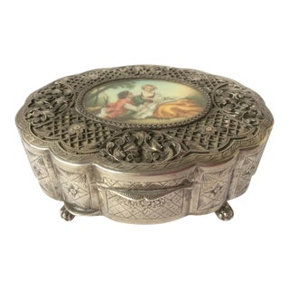 European Silver Jewel Box With Painting