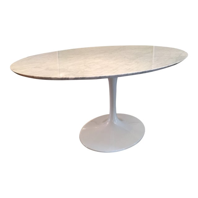 Saarinen White Carrara Marble Oval Table Chairish - Saarinen carrara marble table