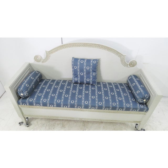 Shabby Chic Swedish Gray Carved Sofa For Sale - Image 9 of 10