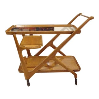 Cesare Lacca Mid-Century Bar Cart in Walnut and Glass Italy circa 1952