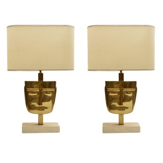 Brass Mask Table Lamps - A Pair For Sale