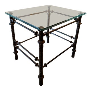 Giacometti Styled Hand-Wrought Iron Side Table, Vintage For Sale