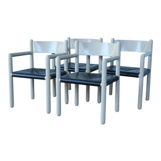 1970s Postmodern Vico Magistretti Style Dining Chairs - Set of 4 For Sale