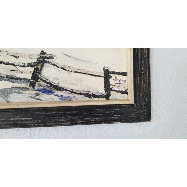 1970 Vintage Snowscaped Oil Painting , Signed . For Sale - Image 10 of 12