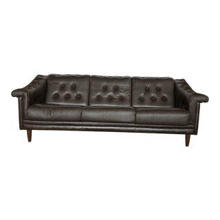 Vintage Mid Century Danish Leather Tufted Sofa For Sale