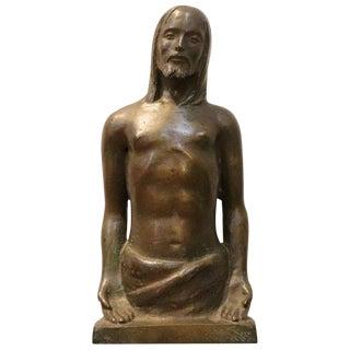20th Century Italian Art Deco Sculpture in Bronze Religious Subject, Christ For Sale