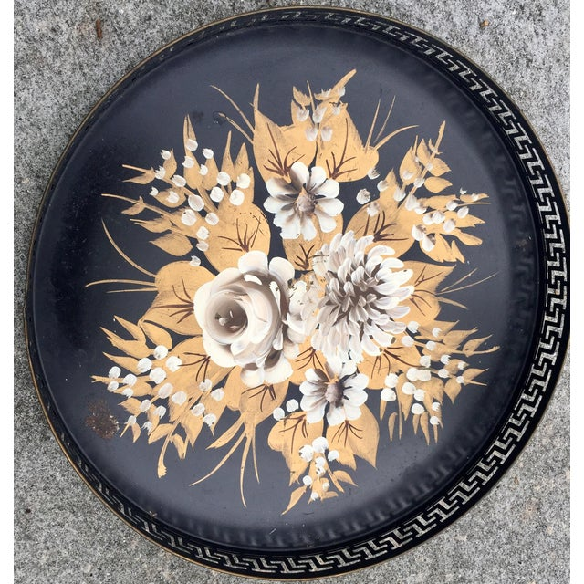 """Such a beauty! White, white gold and yellow gold roses painted on on circular tray, measuring 13.5"""" in diameter, on this..."""