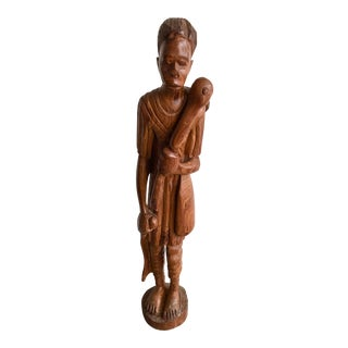 1900s Vintage Carved Wood African Tribal Sculpture For Sale