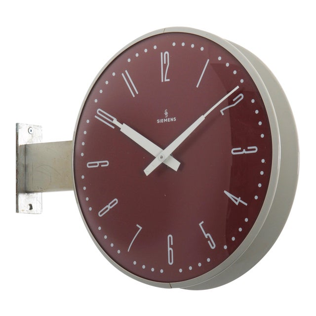 Siemens Halske Double Faced Train Station, Wokshop, Factory Clock For Sale
