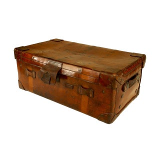English Victorian Leather Trunk For Sale