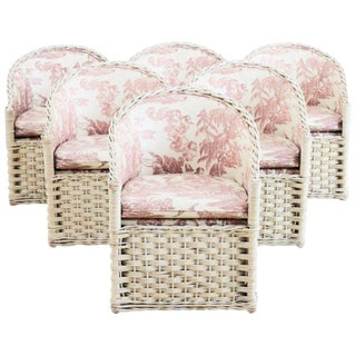 Set of Six Painted Rattan and Wicker Garden Chairs For Sale