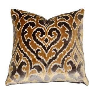 Art Deco Fabricut Damask Cut Velvet Silver and Gold Pillow For Sale