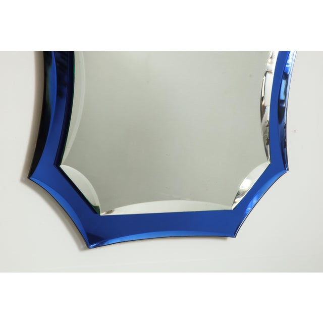 Vintage Mid-Century Modern Mirror With Cobalt Blue Borders For Sale In New York - Image 6 of 7