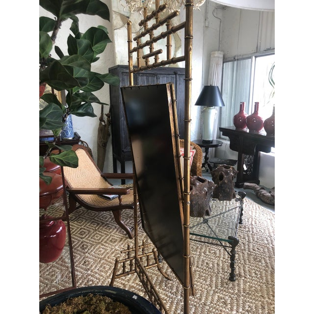 Gold Gold Faux Bamboo Floor Mirror For Sale - Image 8 of 10