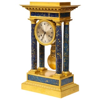 French Empire Ormolu and Lapis Lazuli Mantle Clock, Circa 1860 For Sale