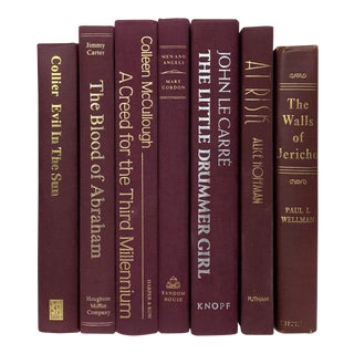 Burgundy Decorative Books - Set of 7 For Sale